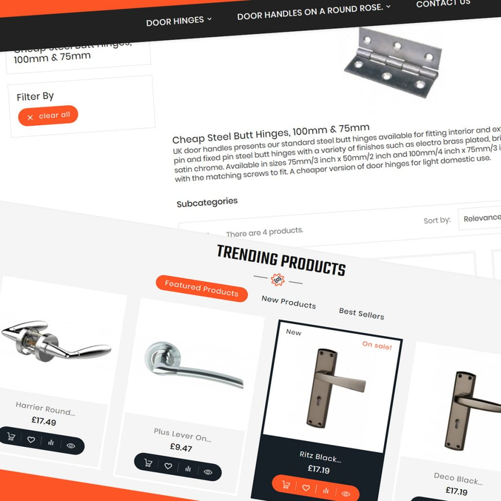 UK Door Handles Portfolio - eCommerce Support and development work