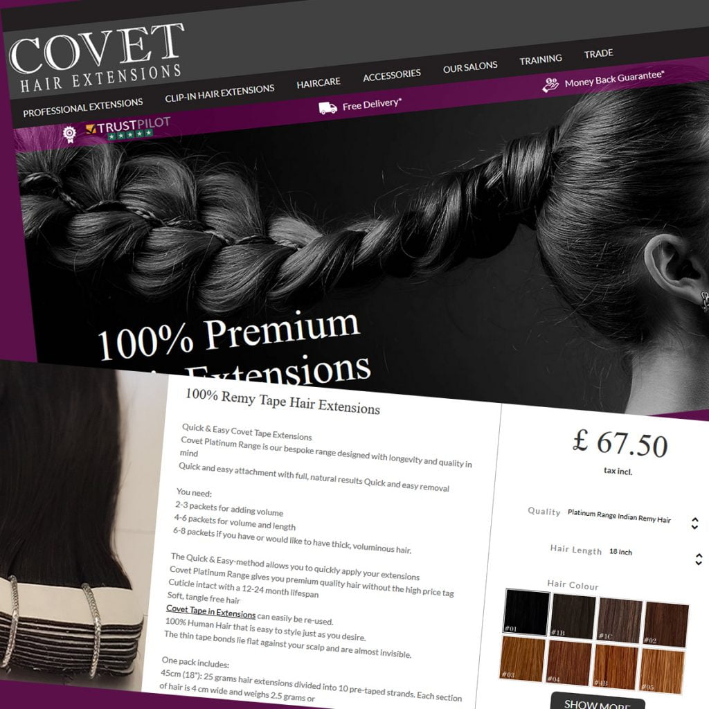 Covet Hair eCommerce - eCommerce Design and Development servicex