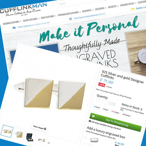 Prestashop design, development and support for cufflinkman webstore