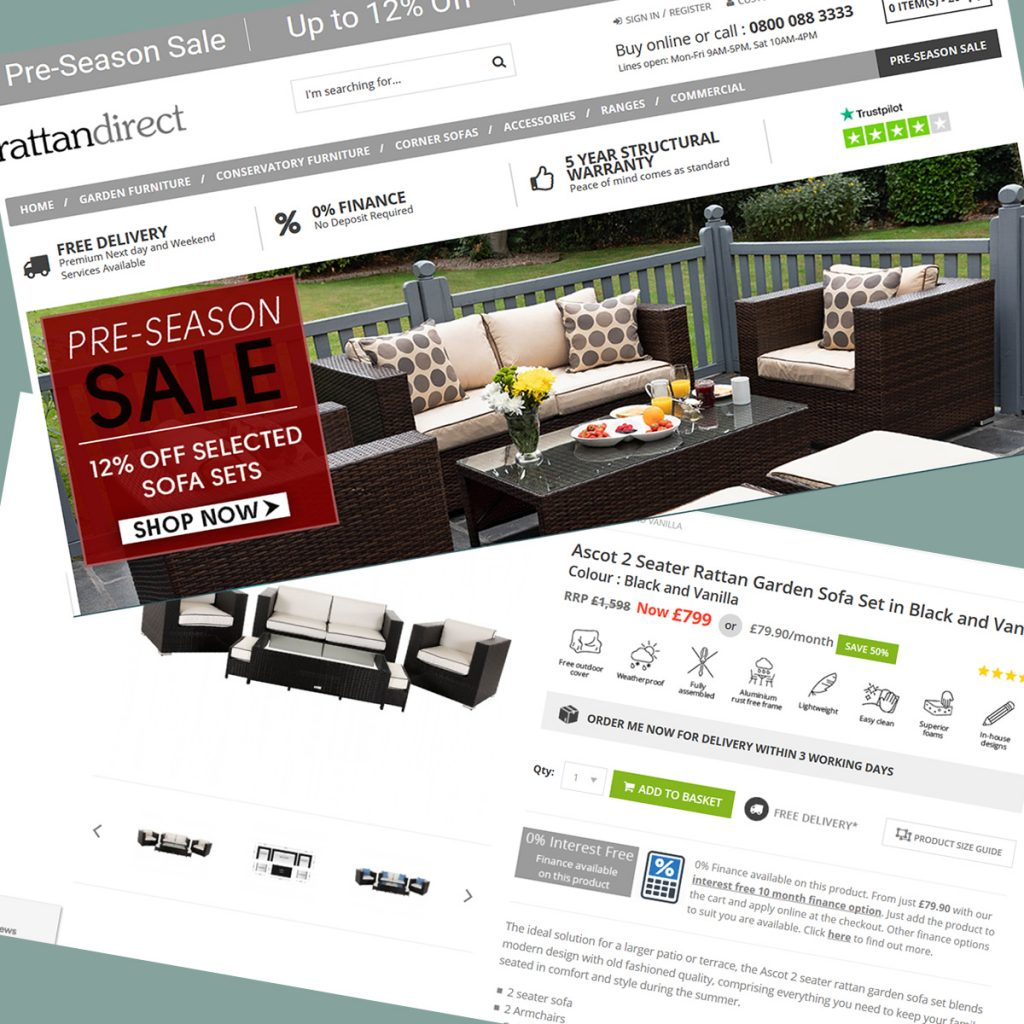 Magento design, development and ongoing support services for RattanDirect eCommerce Store