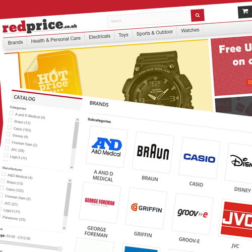 Portfolio - Prestashop 1.6 - Design, Development and support work for RedPrice.co.uk