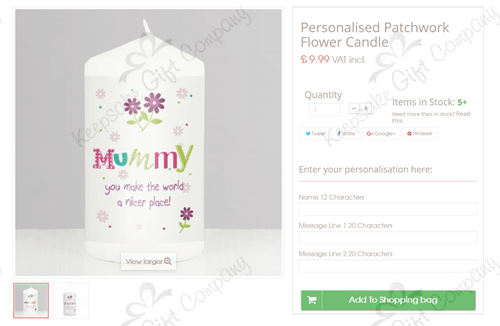 Easily add personalisation text to keepsake gifts