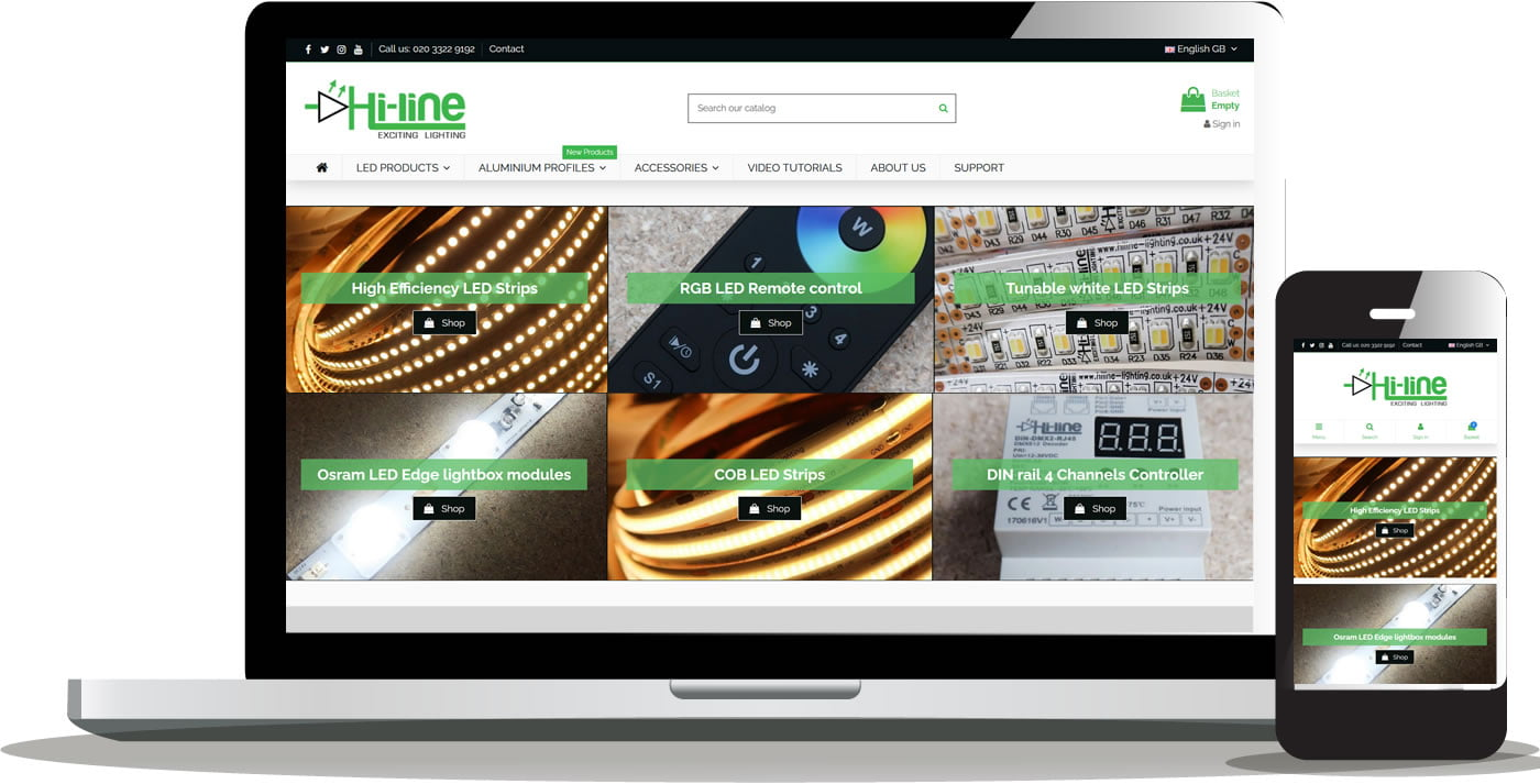 HiLine Lighting Prestashop Design and Development